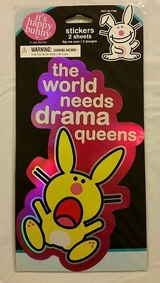 Happy Bunny Girl's Foil Reflective Fashion Stickers The World Needs Drama Queens