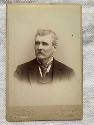 Antique Cabinet Card Photo Man with Mustache San Francisco California Sewell