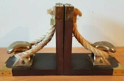 Brass Bookends Nautical Bollard & Rope