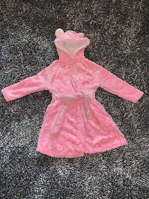 Excellent Condition - Primark Pink Heart Dressing Gown - 3 - 4 Years