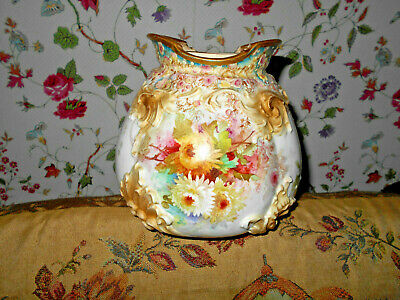 Antique Doulton Burslem Chrysanthemums  Biscuit Jar Cookie Barrel Raised Mold~