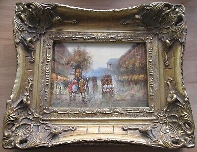 Late 19th/early 20th C small impressionist oil painting of Paris Opera signed