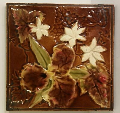 Splendid Reclaimed Antique Victorian Tile - Flowers In Relief