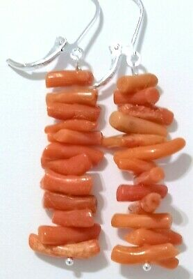 LOVELY 925 SILVER OLD ANTIQUE VICTORIAN NATURAL SALMON BRANCH CORAL EARRING-No3