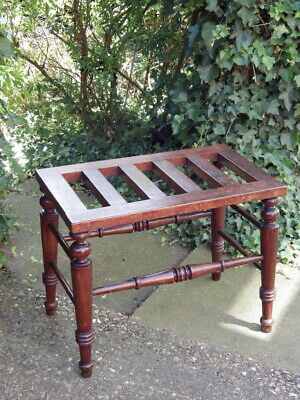 VICTORIAN 19th Century Antique Mahogany Suitcase Stand LUGGAGE RACK