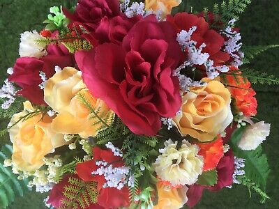 Artificial Flowers Arrangement Grave Pot Is Weighted Memorial Tribute Graveside