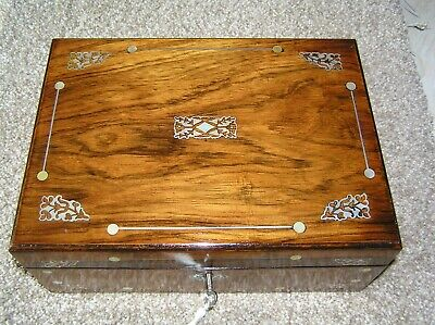 Antique Victorian Rosewood Mop & Pewter Inlaid Jewellery/Trinket Box, Lock/Key.