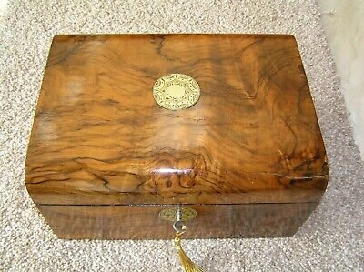 Antique Victorian Walnut Domed Top Jewellery/Trinket Box, Working Lock & Key.