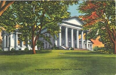 Vintage Linen 1944 Postcard Virginia State Capitol Richmond, VA