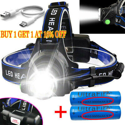 Headlamp Rechargeable Tactical 60000LM T6 LED 18650 Headlight Head Torch Light `