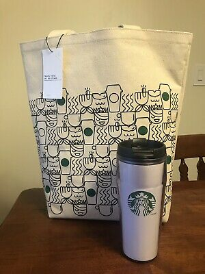 STARBUCKS Coffee Canvas ANYWHERE TRAVEL TOTE Bag New with Tags+ Hot Beverage Cup