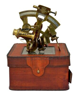Vintage Nautical Brass Sextant Antique Brass Ship Sextant With Leather Case
