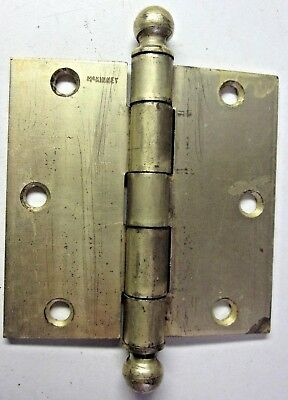 "1 McKinney Antique Hinge Ball Tips 3-1/2"" Square Satin Brass Plated Mortise Door"