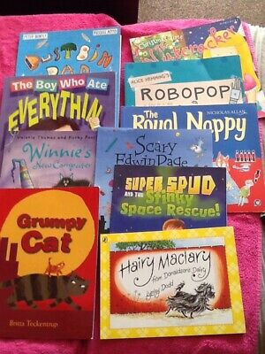 Bundle Childrens Books X10 Hairy Maclary/grumpy Cat/the Royal Nappy And Others