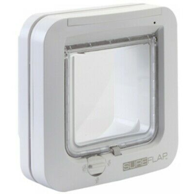 Sureflap Dual Scan Microchip Cat Flap White + Mounting Adaptor Glass Door White