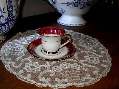 Tasse A Cafe Rose Porcelaine Limoges Ancienne Pied Douche Dore Or Fin