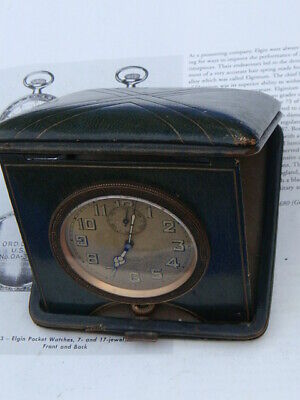 Vintage h.wound Art Deco beautiful 8 day clock serviced in leather travel case