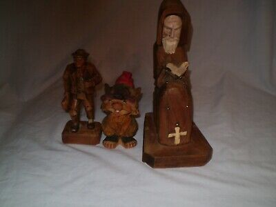 "Lot Vtg Black Forest Wood carving Man with Pipe and bag 4.75""Chipmunk & Priest"