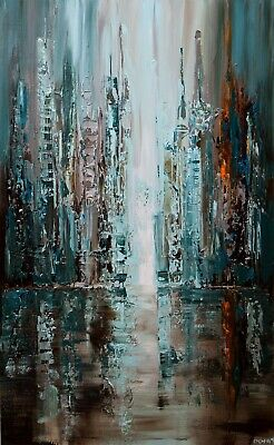 Teal Blue textured abstract city painting on canvas Modern Big Painting Osnat