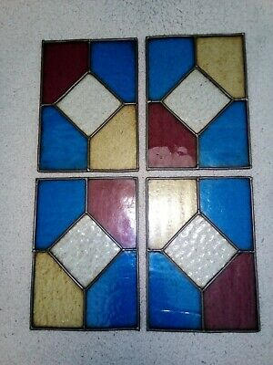 Reclaimed Vintage windows. 4 Stained Glass Window Panels.