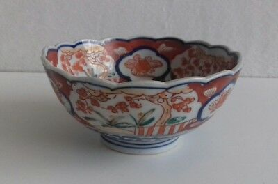 Rare Antique Japanese Hand Painted Imari Rice Bowl. Scalloped & Fluted Rim.