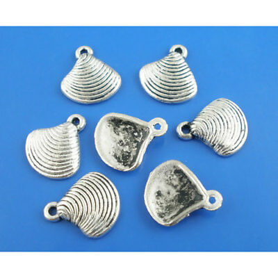 BULK 60 Seashell Charms Antique Silver Tone 2 Sided 3D Clam Shell SC1143