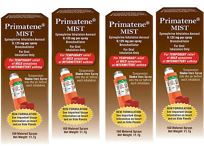 (4) Exp 09/2020 PRIMATENE MIST asthma relief inhaler 160 ea, 640 Metered Sprays