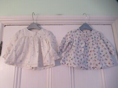 3-6m: 2 cute cotton smock tops/blouses: Stars & Birds: Next/Gap: Good condition