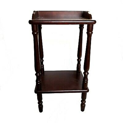 Vintage Mid Century Malaysian Mahogany Wooden  2 Tiered Small Side Table Unit
