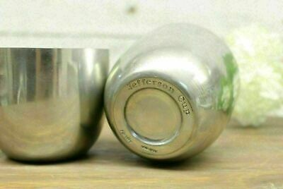 "Pewter Metal Jefferson Cups Handmade By Shirley Set Of 2 / 2.75"" Tall 3"" Wide"