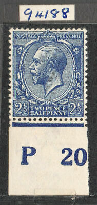 1912-24 ROYAL CYPHER 2 1/2d. ROYAL BLUE, FRESH UNMOUNTED CONTROL P20 RPS CERT