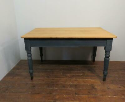 Antique Victorian Medium Size Farmhouse Dining Table / Painted Base & Scrub Top