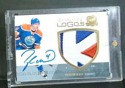 TAYLOR HALL rookie 2010 11 UD THE CUP LIMITED LOGOS PATCH AUTO 20/50 devils