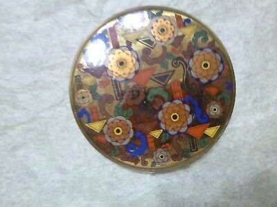 Art Deco Stylized Floral Design Compact By Zell