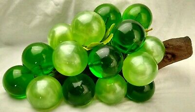 MCM Large Green Vintage Acrylic Glass Lucite Grape Cluster DriftWood Retro