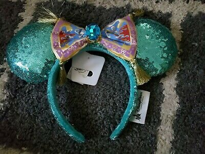 New Disney Parks Jasmine Magic Carpet Green Minnie Ears Headband NWT