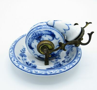 Antique SUPER RARE Snail Inkwell, Blue Onion, Porcelain Ink Well, NR