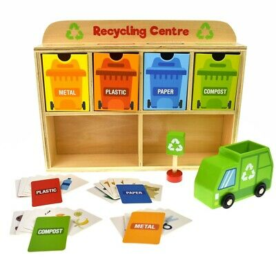 TOOKY TOY Wooden Recycling Centre Sorter Coloured Bins Educational Toy Gift Kids
