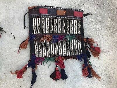 "Vtg. Persian Rug Woven Pillow Case With Fringes 16""x17"""