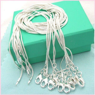 Wholesale 10PCS 925 Sterling Solid Silver 1MM Snake Chain Necklace Fits Pendant