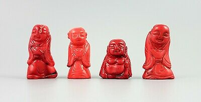 Antique Chinese hand carved red bamboo coral 4 figurines Immortals gods group