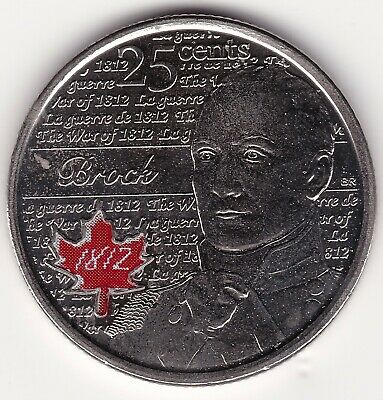 2012 Colored Maple Leaf  Brock Canada 25c coin -  commemorating war of 1812