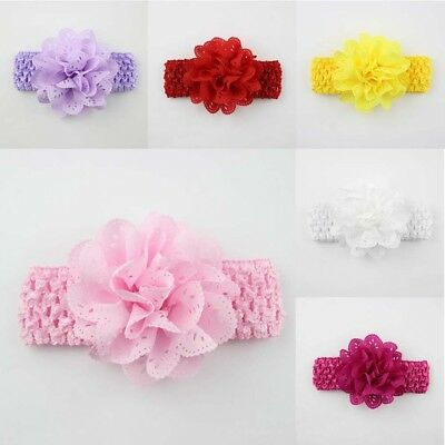 Baby Girls Flower Bow Headband Soft Lace Elastic Band Hairband-Hair-Accessories