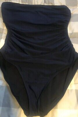 NEW J Crew D Cup Ruched Bandeau One Piece Swimsuit Tank NAVY Sz 2 XS B6842