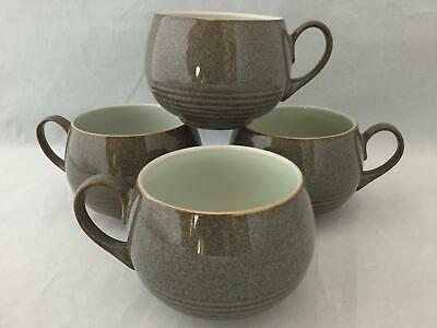 Set of 4 Denby GREYSTONE Brown Ribbed Coffee Mug / Tea / Flat Cup - SHIPS FREE!