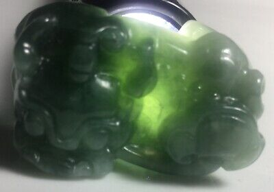 #B Certified Jade Jadeite Grade A Icy Green Carved Pixiu Pendent 40x26x17mm