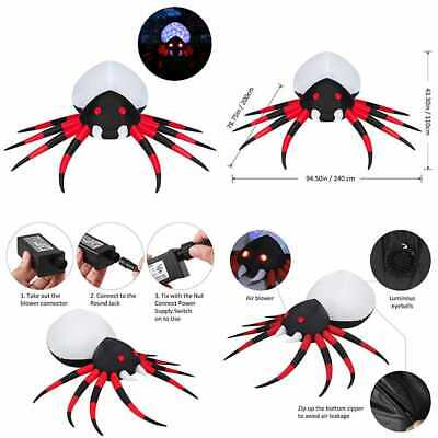 YUNLIGHTS 8 Ft Halloween Inflatable Spider Air Blown W Colorful LED Lights For O