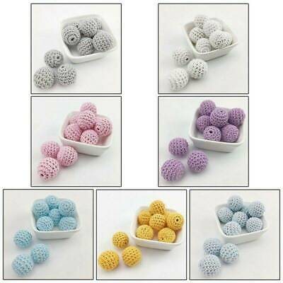10Pcs Crochet Wood Beads Baby Teething Chew Necklace Teether DIY Making Jewelry