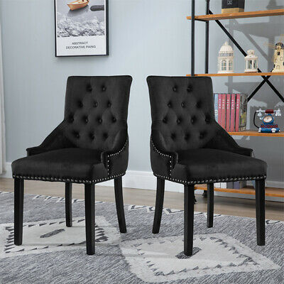 Awesome 2X Tufted Stud Velvet Dining Chairs With Knocker Upholstered Gmtry Best Dining Table And Chair Ideas Images Gmtryco