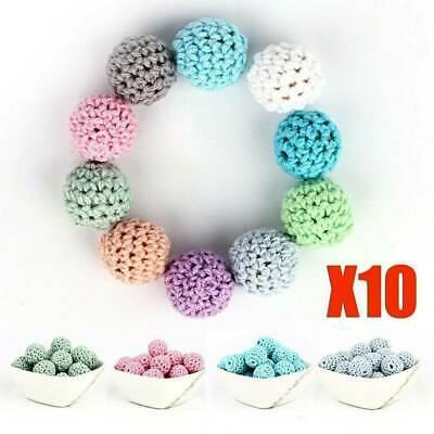 10pcs Lot Crochet Wooden Beads Ball for Baby Teether Pacifier DIY Chain Necklace